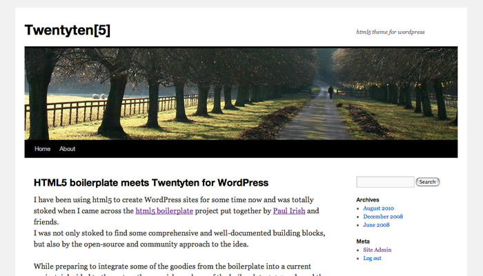 twentyten wordpress theme meets html5 boilerplate