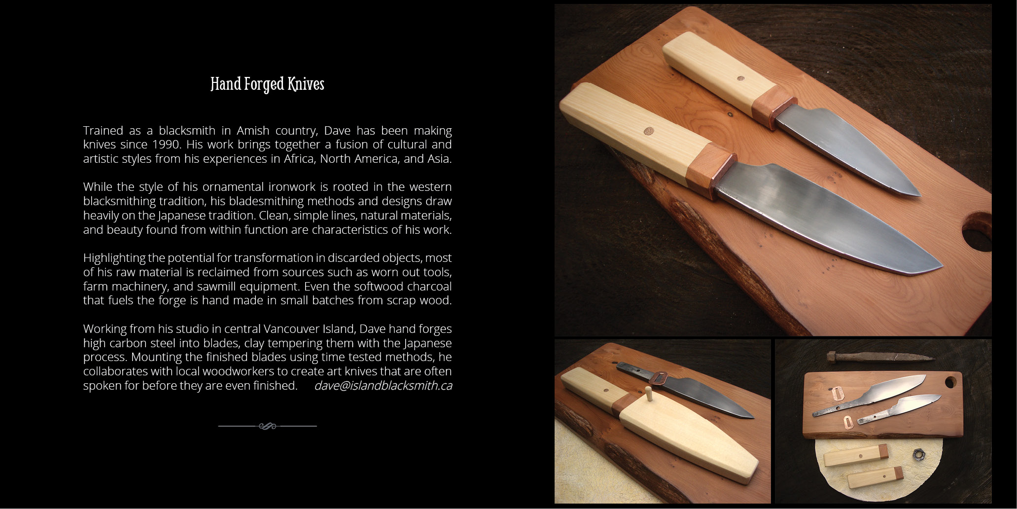 Handmade knives from Canada's west coast.
