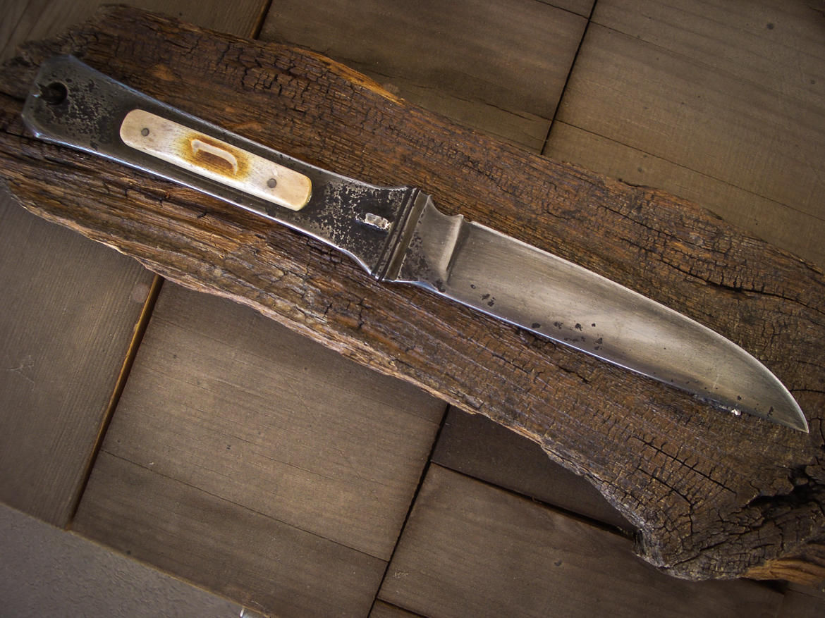 Heirloom presentation knife made from reclaimed materials.