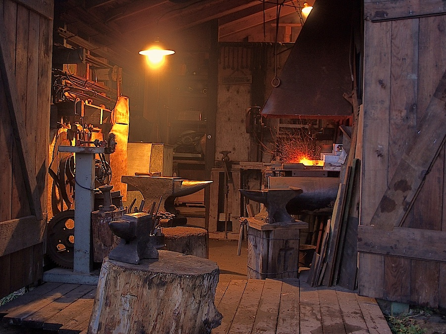 Blacksmithing forge in traditional workshop