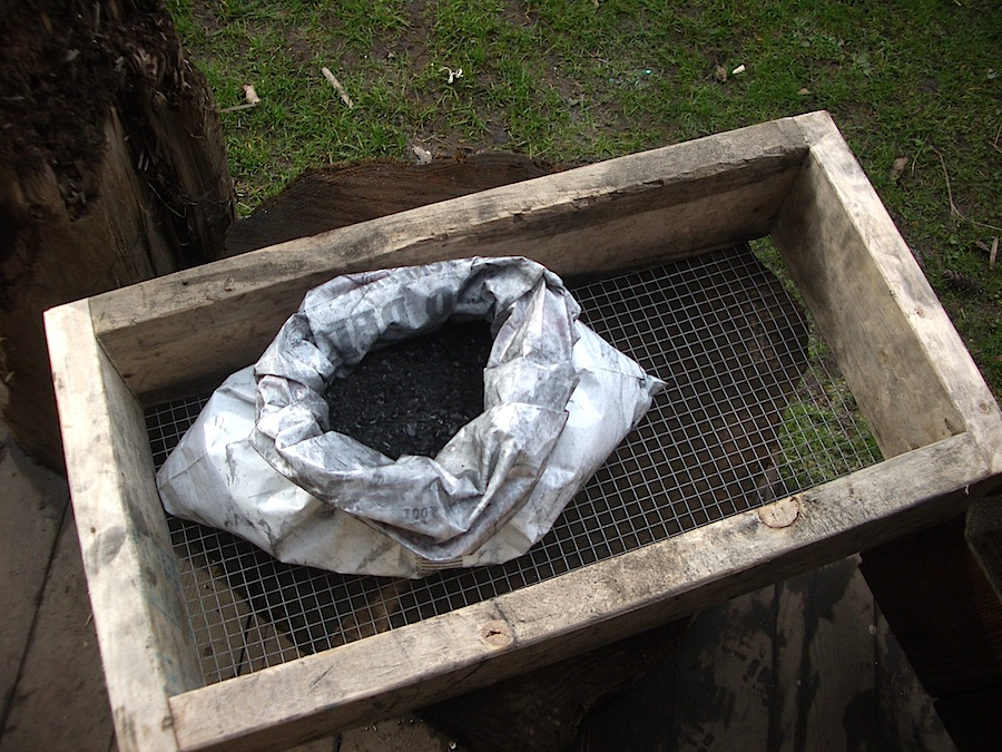 Screened charcoal dust and fines.