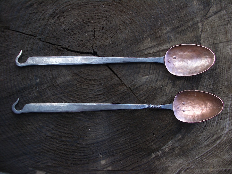 Hooked Copper Spoons Crossed Heart Forge