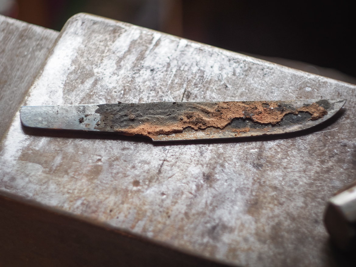 Island Blacksmith: Hand forged knives reclaimed from farm equipment.