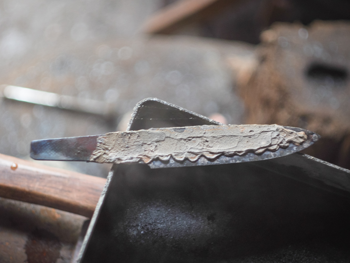 Island Blacksmith: Hand forged knives reclaimed from old tools.