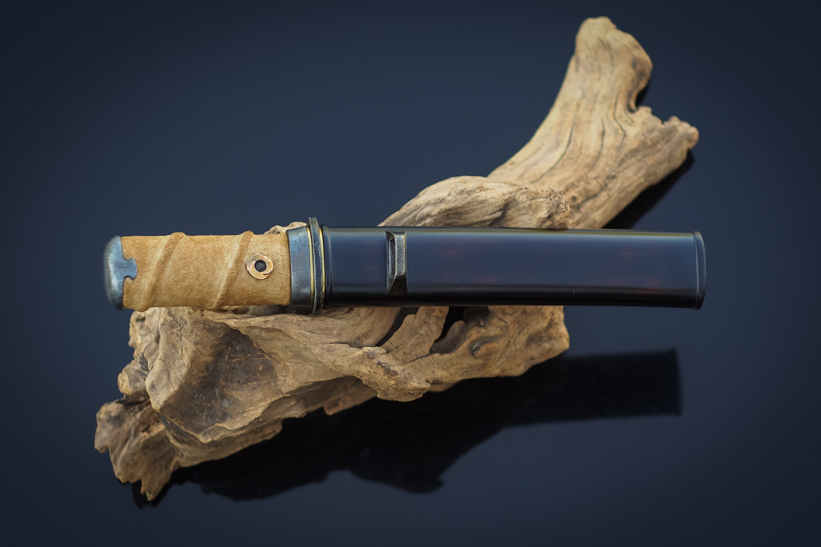 Island Blacksmith: Charcoal forged tanto reclaimed from farm equipment.