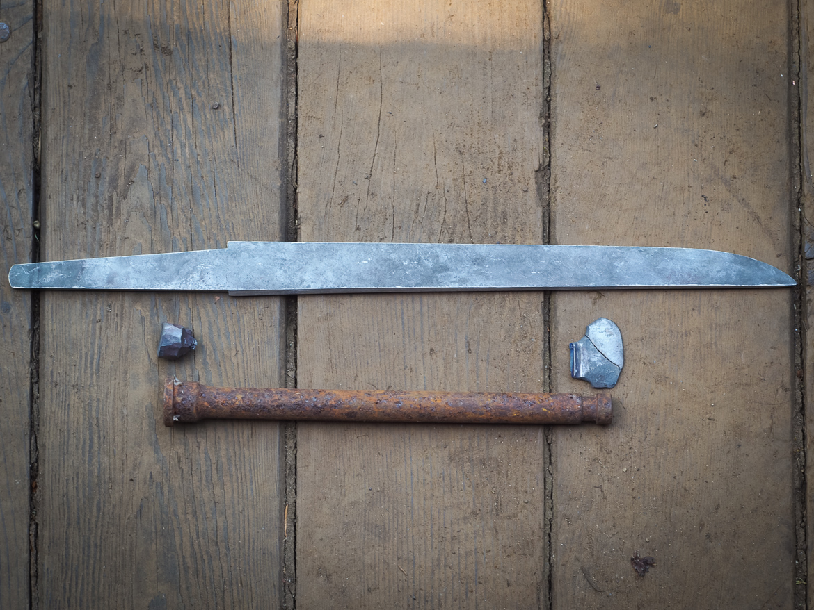 Island Blacksmith: Charcoal forged tanto made from reclaimed and natural materials using traditional techniques