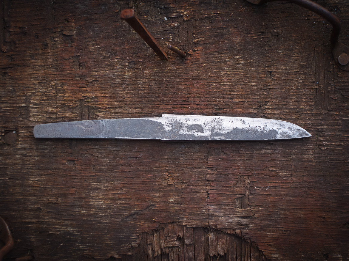 Island Blacksmith: Hand forged knives reclaimed from old files.