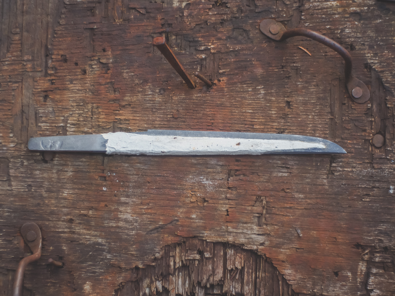 Island Blacksmith: Hand forged yoroidoshi tanto in shirasaya, made from reclaimed and natural materials using traditional techniques