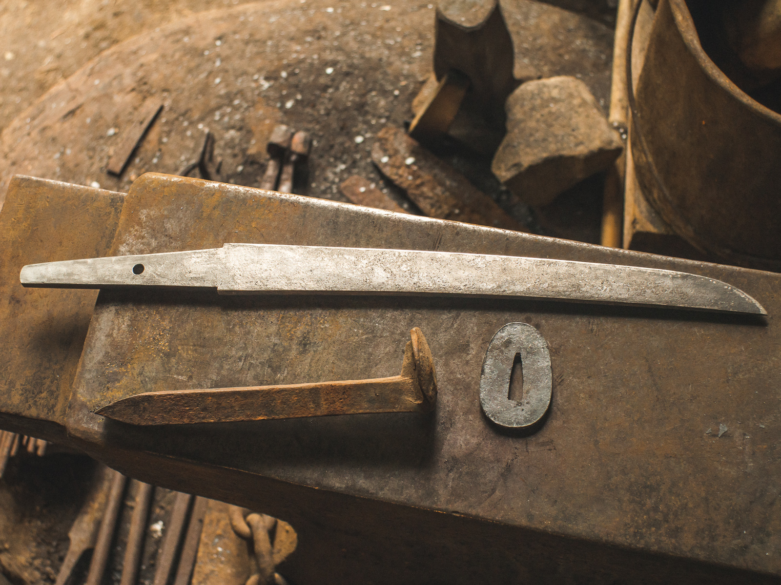 Island Blacksmith: Hand forged tanto letter opener made from a reclaimed railroad spike
