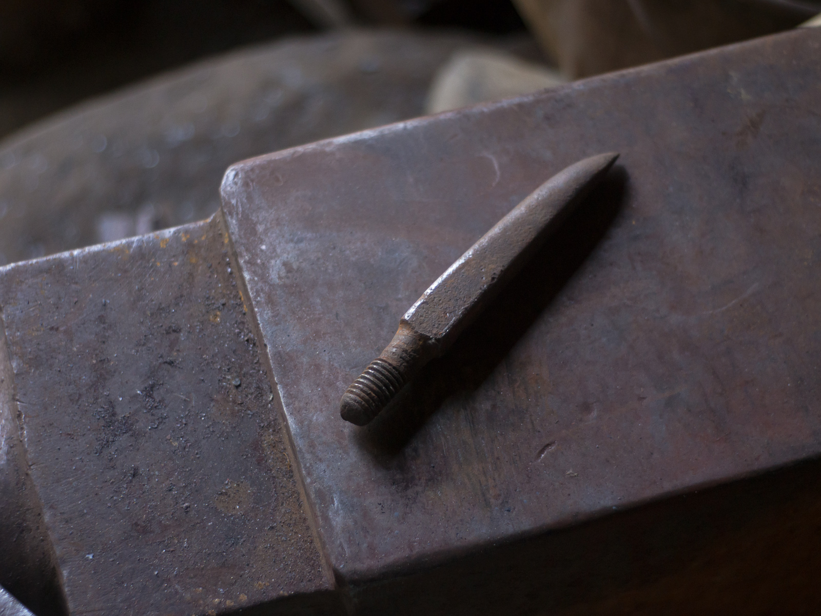 Island Blacksmith: Charcoal forged knives reclaimed from farm tools.