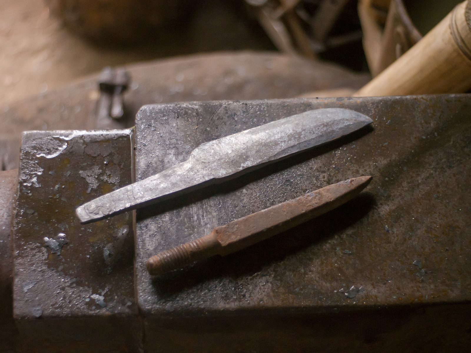 Island Blacksmith: Charcoal forged knives from reclaimed farm tools.