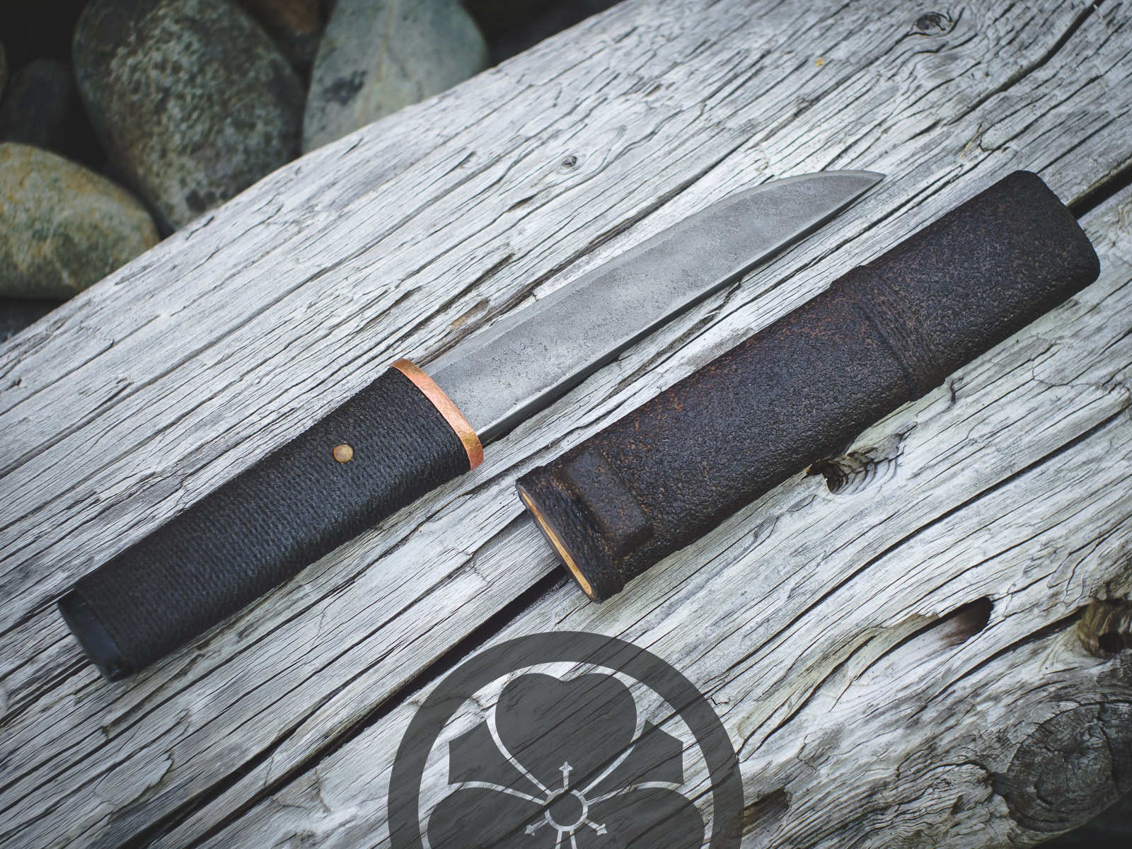 Island Blacksmith: Charcoal forged knives reclaimed from harrow teeth.