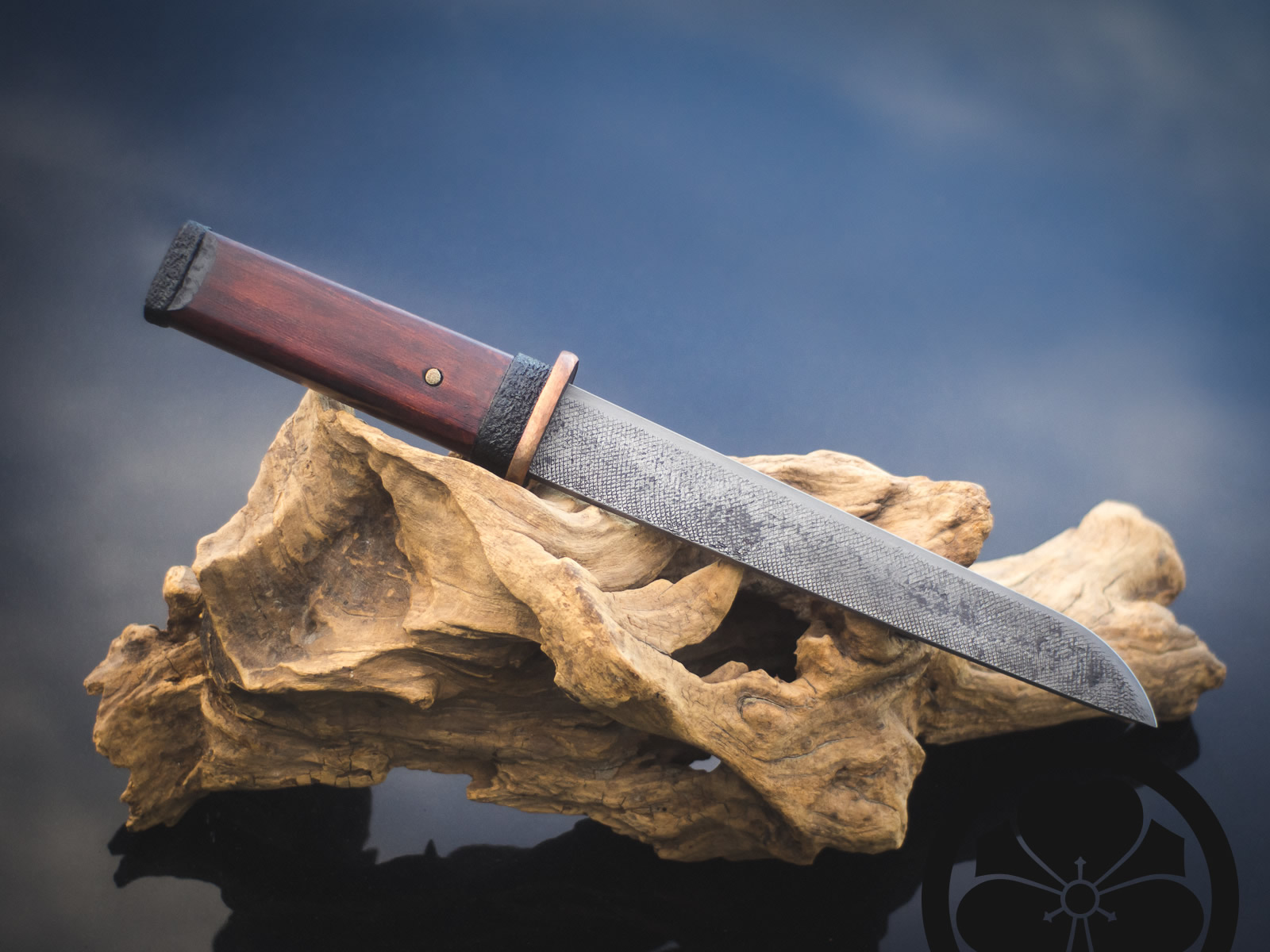 Island Blacksmith: Charcoal forged tanto reclaimed from files.