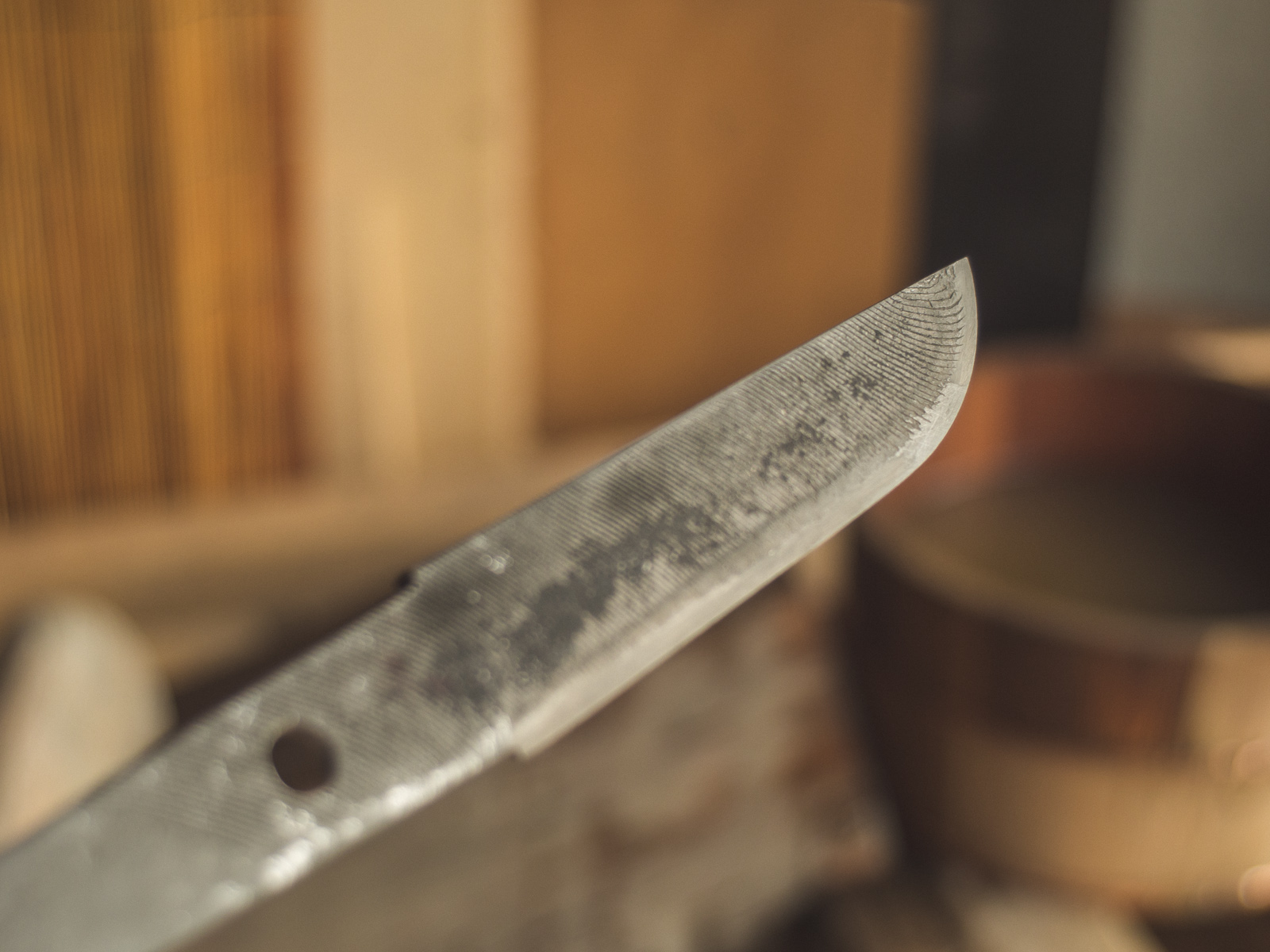 Island Blacksmith: Charcoal forged knives from reclaimed files.