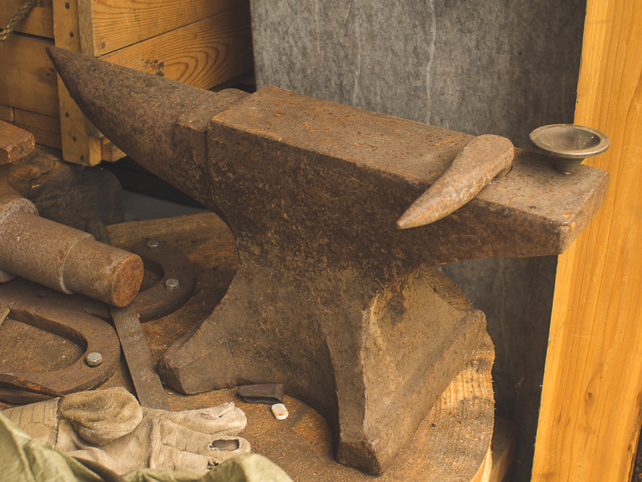 Blacksmithing anvil in traditional workshop